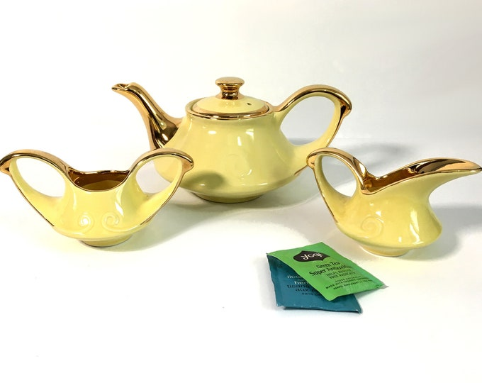 Vintage Pearl China Co Teapot Sugar & Creamer Pearl China Company -  3 Pc Set Retro Art Deco - Yellow w/ 22K Gold Trim - Kitchen Serving Set
