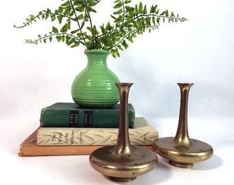 2 Mid century Brass Candlesticks -  Unique Pair Vintage Short Bulbous Squat Candleholders - Retro Mod Round Orb Candstick Holders Home Decor