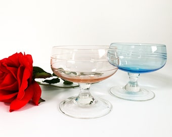 Pair of Champagne Coupes - Two Vintage His & Hers Glasses - 2 Blue and Pink Large Etched Bowl Clear Stem Glasses - Etched Geometric on Bowls