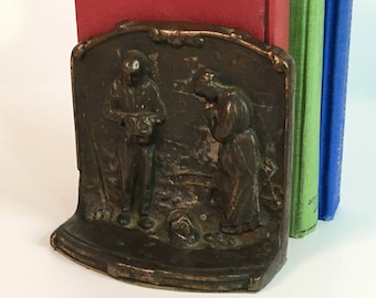 Vintage / Antique Angelus Prayer Couple Bookend - Cast Metal Copper Colored Single Bookend - Ca 1920s Library Decor