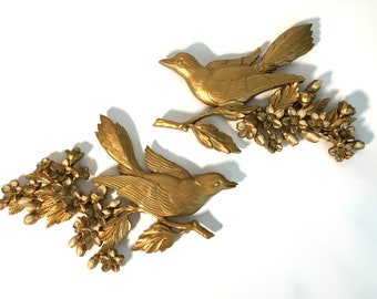 Vintage 2 Pc. Dart Industries Bird Wall Hangings Dated 1967 - Mid Century Gold Colored 2 Piece Birds Wall Art