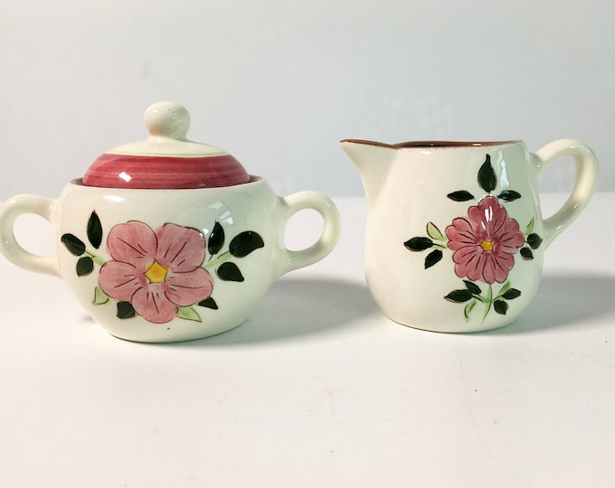 Mid Century Stangl Wild Rose Sugar & Creamer - Sugar Bowl with Lid -  Vintage Kitchenware Pottery - Retro Serving White w/ Pink Flowers
