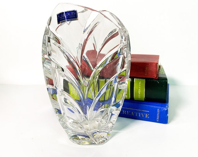 "Vintage Waterford Crystal Vase Palma - 6"" Pocket Vase Retro Home Decor Marquis Shape Sculpted Leaves - Made in Germany"