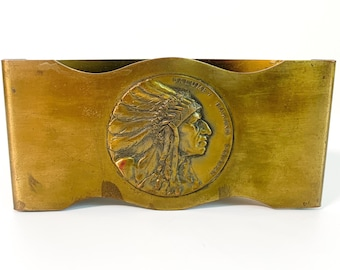 Antique Advertising Calumet Baking Powder Indian Chief Brass Circa 1900s - Solid Brass Mystery Object Turn of Century Collectible Trademark