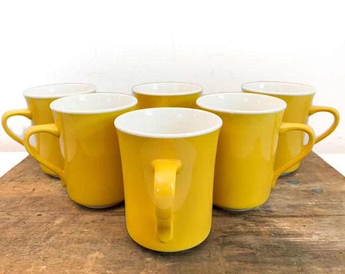 6 Vintage Syralite Syracuse China Coffee Mugs - Restaurantware Set of Six Dark Yellow / Mustard Color Cups - Retro & Kitsch Kitchen Decor