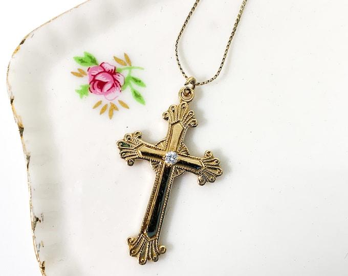 Vintage 14K Gold Fill Cross Necklace & Faux Diamond 14K GF Chain PPC Princess Pride Creations Retro Religious Christian Gift Girl Communion