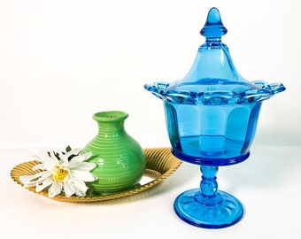 Vintage Blue Imperial Glass Co Lidded Compote Pedestal w/ Lacy Openwork Edge Trim Jar - Retro Home Decor