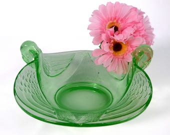 "Depression Glass Swan Bowl - Green Swan Bowl 7"" Oval Bowl by Fenton Or Dugan - Vintage Home Decor Pressed Glass - Retro Glass Bird Shape"