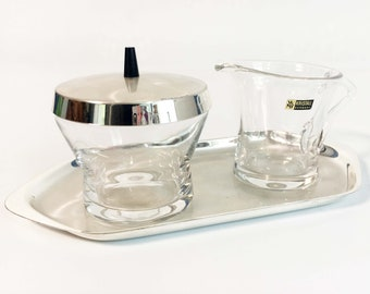 Vintage WMF Ikora Sugar and Creamer Set - Glass and Silverplate Tray Coffee / Tea Set - Mid Century Modern Home Decor - Kristall Germany