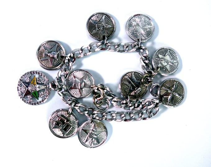 2051e728d92fe0 Vintage Sterling Silver Charm Bracelet - 10 Round Sterling Silver Masonic Charms  Silver Link Chain -