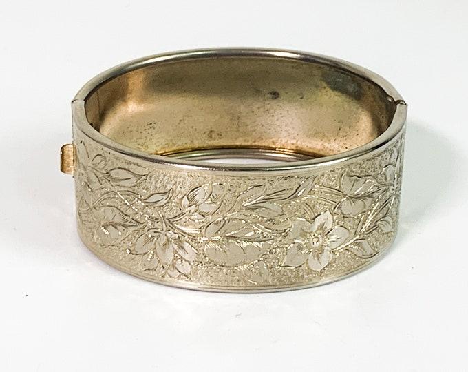 Vintage Etched Bangle Bracelet - Retro Silver tone Metal Hinged Cuff Bracelet Ornate