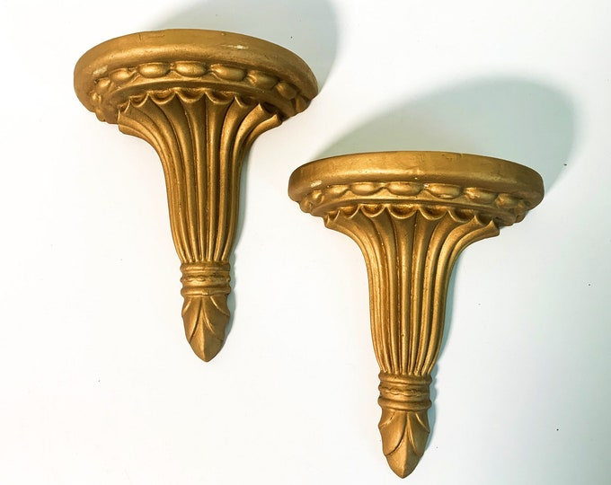 2 Vintage Gold Chalkware Shelves Retro Wall Art - Home Decor Wall Hangings - Pair Ornate Shabby Chic