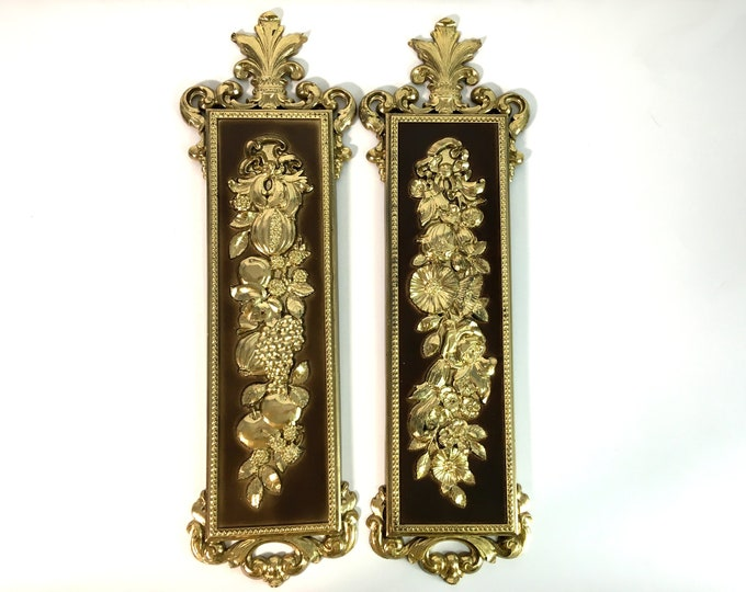 Set of 2 Vintage Gold & Brown Ornate Wall Hangings Mid Century LONG Large Home Decor - 2 Syroco Wall Hangings Dated 1970 - Pair Retro