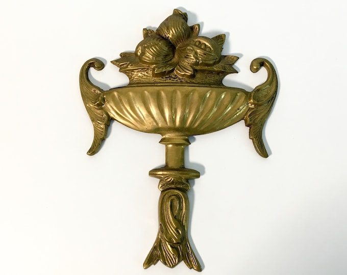 Victorian Solid Brass Urn Wall Decor Basket Urn - Antique Brass Home Decor - Vintage Style Urn w/ Fruit & Accents - Ornamental Wall Hanging