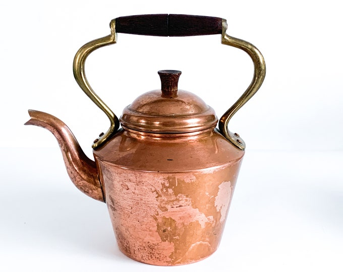 VINTAGE Copper & Brass Teapot - Hallmarked ODT Portugal Farmhouse Decor Tea Kettle w/ Wood Handle Copper Portugal Shabby Chic Home Decor