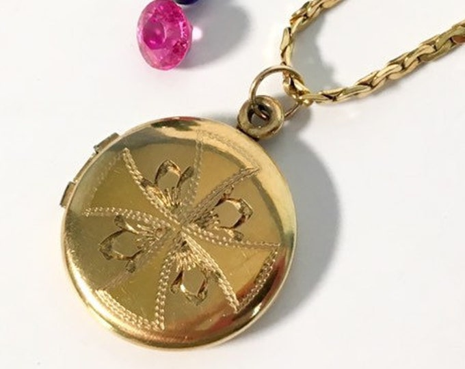 Vintage WEH 12K Gold Filled Round Locket Necklace w/ Etched Flower Cross - Sweetheart Love Pendant - Sense of Humor W E Hayward Photo Locket