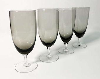 Vintage Set of 4 Smokey Grey Water Glasses or Goblets - Smoky Stemmed Barware / Drinkware - Mid Century Danish Modern Design Handblown Glass
