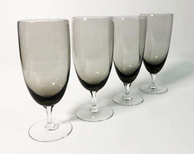 Vintage Set of 4 Smokey Grey Water Glasses or Goblets - Smoky Stemmed Barware / Drinkware - Mid Century Danish Modern Design Handblown Glass