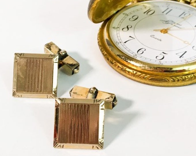 Vintage SWANK Art Deco Style Gold Filled  Cufflinks - 2 Square Retro Men's Cuff Links - Hallmarked 12K GF Men's Dress - Wedding Prom Formal