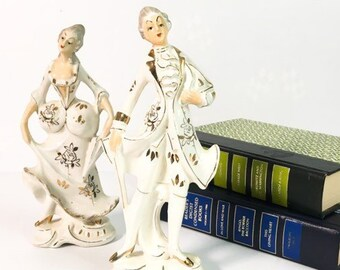 Vintage Victorian Porcelain Statues Man & Woman Artmark Originals Made in Japan - Handpainted China Couple Figurines