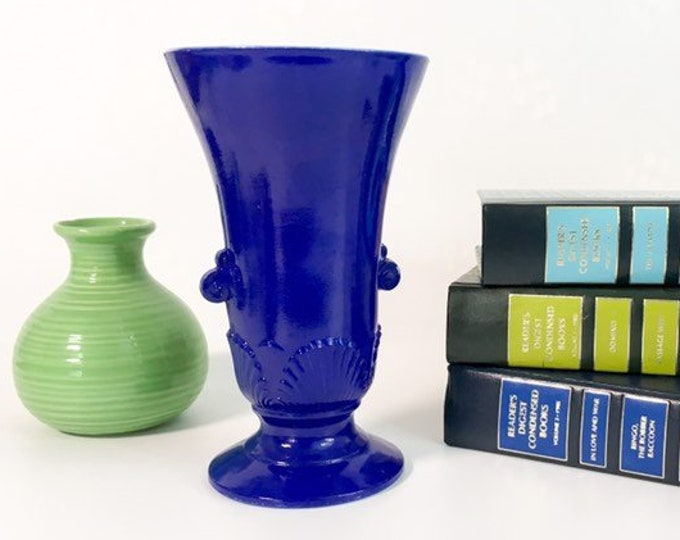 Vintage Blue Art Deco Vase w/ White Interior - Cobalt Blue Glass - Retro Home Decor