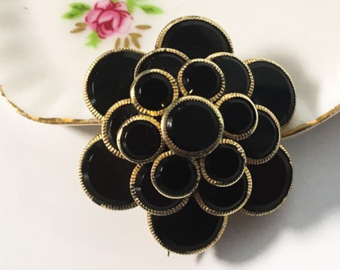 Antique Mourning Brooch - Floral Design w/ Layers of Round Black Glass  Gold Tone Metal Trim - Victorian Pin  Jewelry