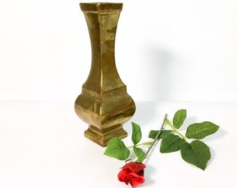 Vintage Brass Vase - Solid Brass Vase - Home Decor / Decorating - Classic Design Square Top & Base