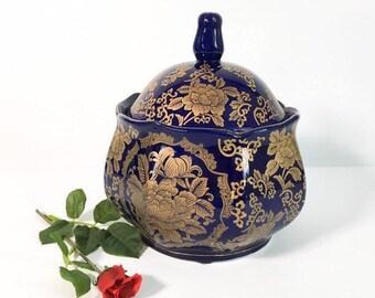 Vintage Blue & Gold Ceramic Jar W/ Lid - Round Squat Dark Blue Home Decor - Retro Dark Blue Gold Floral Flower Design Lidded 8 Sides Unique