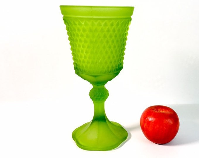 "Vintage Indiana Frosted Lime Green Satin Glass Diamond Point 10 1/2"" Tall Footed Urn Pedestal Vase / Jar - Retro Home Decor"