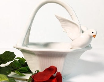 Bird on Basket Vintage Fitz and Floyd Trinket Dish w/ Dove - Ceramic White FF Octagon Basket Bedroom Bathroom Home Decor Dated 1983
