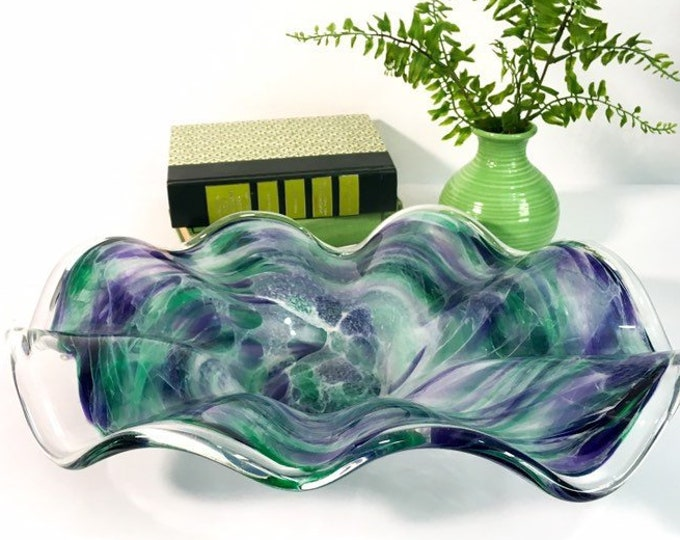 Vintage Green & Purple Art Glass Bowl - Ameoba Swirled Heavy Large Mod Mid Century Centerpiece Home Decor