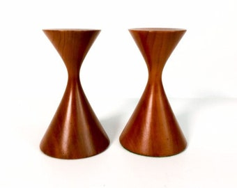 Vintage Candleholders - Mid Century Modern Short Wood Candle Holders Pair Candlesticks Danish Modern Design - Mod Wooden Candlesticks