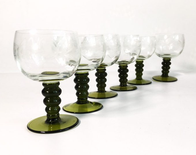 6 Vintage Roemer Austrian Wine Glasses - Set of 6 Green Stem Clear Bowl with Etched Glass Austria - Grapes with Vine Etched Wine Glasses