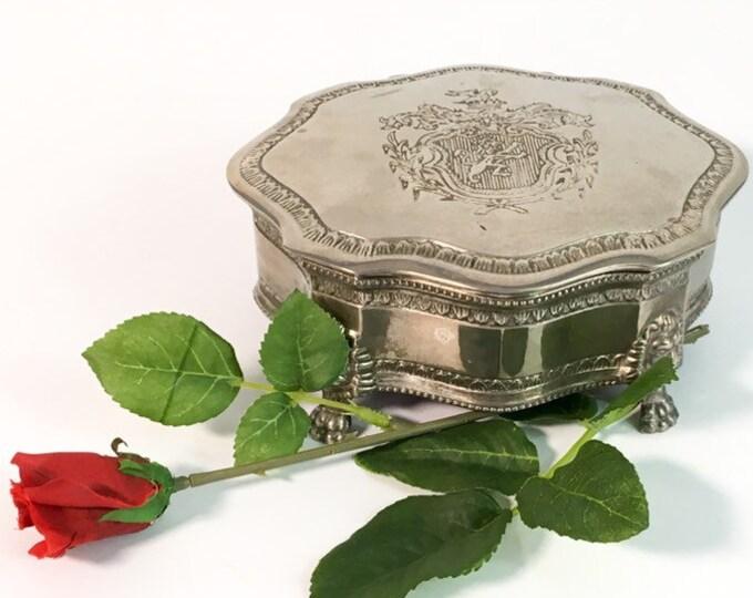 Vintage Silver Toned Lined Trinket or Jewelry Box - Ornate Pedestal Legs - Shabby Chic Bedroom & Bathroom Decor - Lion Head Legs w/ Crest