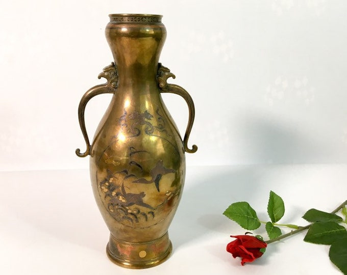 Tri Color Vintage Brass Vase w/ Eagle Handles - Asian Floal Bird Motif Heavy Vase - Mid century Home Decor