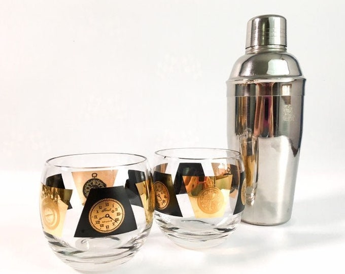 Pair of 2 Mid century Large Roly Poly Glasses Black & Gold w/ Clocks - Vintage / Retro Cocktail Modern Drinkware Time Motiff