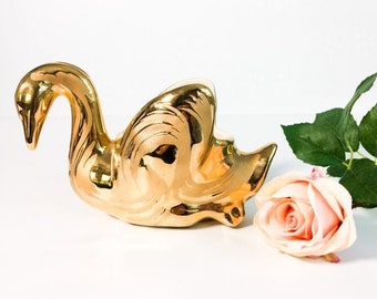 Vintage Swetye 22K Gold Swan Vase Sweyte Ceramic Artware Salem OH - Retro Home Decor Planter