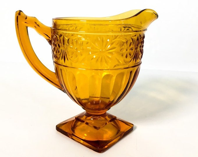 Vintage Daisy Amber Glass Creamer by Indiana Glass Co - Flower Pattern Footed Creamer w/ Square Base Retro Kitchen Serving