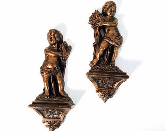 Vintage Pair Cherub Mid Century Wall Decor - 2 Copper Colored Angels