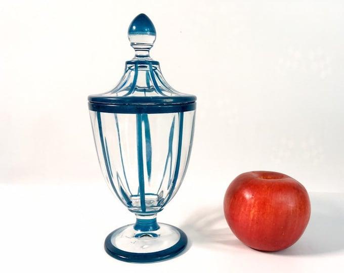 Vintage Candy Jar Clear w/ Teal Blue Trim - Pedestal Jar with Lid & Blue Stripe or Band - Retro Home Decor