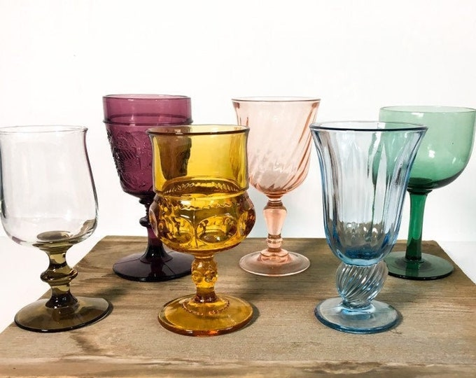 2nd Time Around Vintage Set 6 Multi-Colored Goblets / Water Glasses - Unique Retro Collection / Combination Barware Stemware
