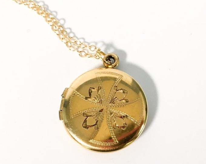 Vintage WEH Gold Filled Round Locket Necklace w/ Etched Flower Cross 14K GF Chain - Sweetheart Love Pendant - Sense of Humor W E Hayward