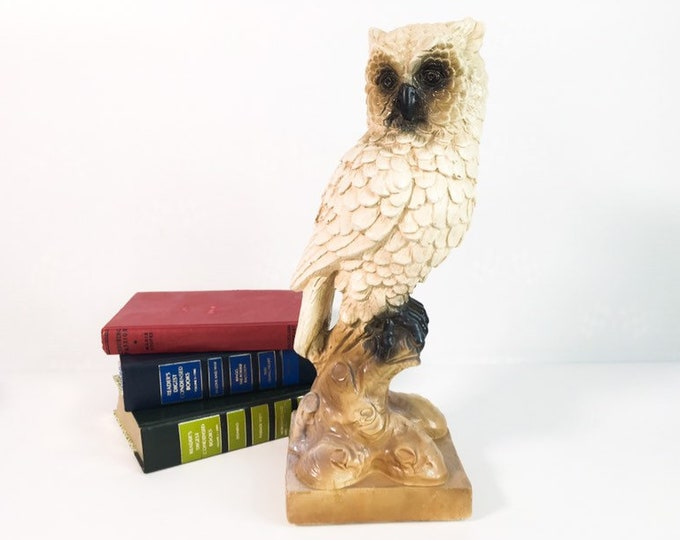 Large Vintage Owl Statue Chalkware Bird - Woodland Cabin / Cottage Decor - Nature Wildlife Library Home Decor - Retro Wise Owl
