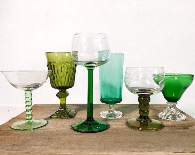 2nd Time Around Vintage Set 6 Shades of Green Wine Cocktail Glasses - Unique Retro Collection / Combination Barware Stemware Cocktail Glass