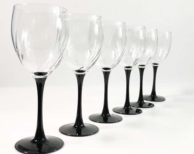 Vintage Set of 6 Luminarc D'Arques Optic Swirl Water Goblets - Wine Glasses - Made in France - Clear Swirl Bowls Black Stem - Durand Astra