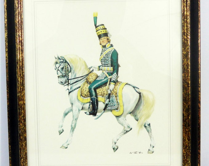 Vintage Turner Wall Accessory French Republic Cavalary Officer Framed Glass Print - Mid Century Retro Home Decor -  Wall Hanging