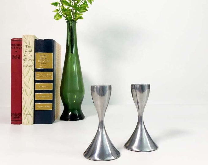 Vintage Candleholders - Mid Century Modern Stainless Steel Candle Holders Pair Candlesticks Danish Modern Design - Short Mod Candlesticks