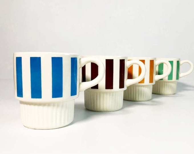 Stackable Striped Vintage Coffee Mugs - Set of 4 Mid Century Modern Stacking Tea Cups Geometric Retro Serving 1970s - Made in USA