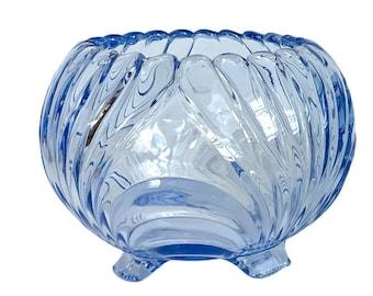 "Vintage Cambridge Caprice Moonlight Blue 6"" High Rose Bowl - Retro Round Glass w/ Swirl Design RARE  Depression Glass Home Decor Collectible"