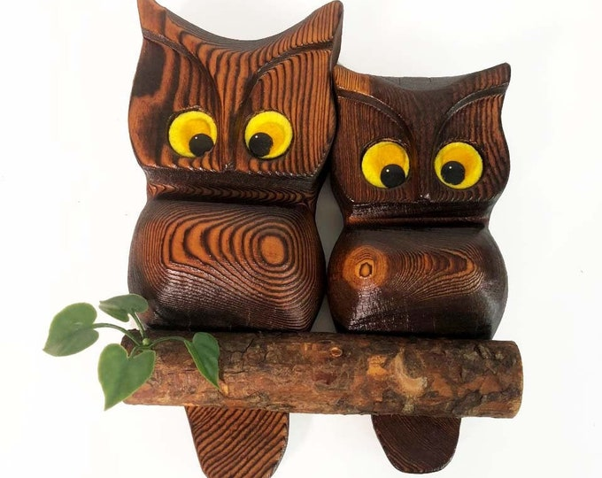 Vintage Wood Owl - Green Mountain Wooden 1970s Wall Hanging Kitsch Handcrafted Owl Retro Owls Boho Kitchy Trendy Retro Shabby Chic Decor